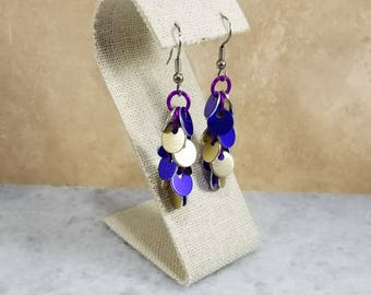 Shaggy Chainmaille Earrings - Purple & Gold