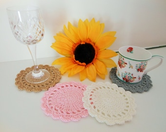 Drinks coaster gift set for tea, cotton crochet coasters for wedding gift, wine glass coaster gifts, housewarming gift for first home