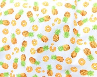 Quilt Cotton Fabric Tropical Scandinavian Pineapple Fruit Ivory Fat Quarter Half Yard