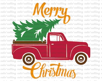Christmas svg, Christmas truck svg, Merry Christmas svg, tree svg, red, dxf jpeg cutting files for Silhouette Cameo, Portrait, Curio, Cricut