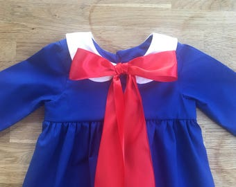 Girls' Royal Blue Madeline Inspired Dress with White Peter Pan Collar