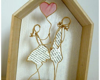 I love you MOM - reinforced kraft string figures and original papers - great gift toppers are a mothers love, tenderness
