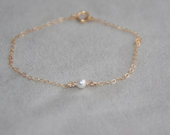 Gold Pearl Bracelet 14k Gold Filled Dainty Petite Pearls Gold