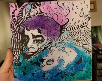 Abstract Trippy Mixed Media Watercolor Painting