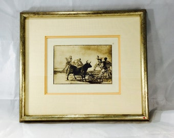 """Francisco Goya """"La Tauromaquia"""" Series Spanish Bullfight Plate #12 Engraving Featuring Original Madrid National Library Embossed Notary"""