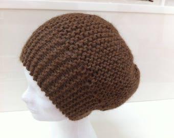 Medium brown alpaca wool hat