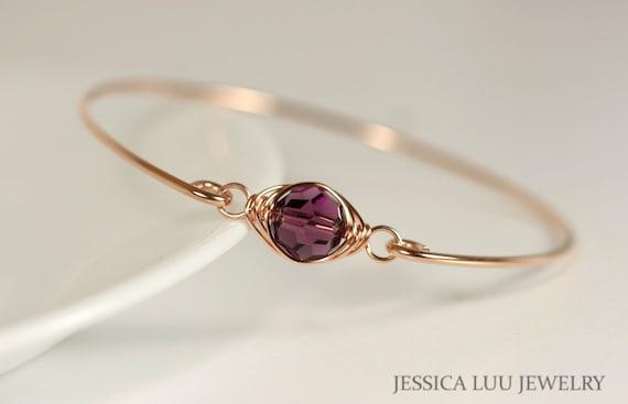 Rose Gold Amethyst Armband Draht umwickelt lila Swarovski