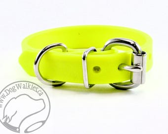 """Sunny Neon Yellow Biothane  Dog Collar 5/8"""" (16mm) wide - leather look and feel - Small Dog Collar - Stainless Steel or Solid Brass Hardware"""