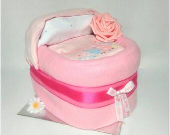 Nappy Cake baby shower bassinet / crib pink baby shower new baby gift new mum maternity  gift unique