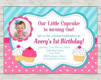 Cupcake Birthday Invitation, Cupcake 1st Birthday Invitation - Digital File (Printing Services Available)