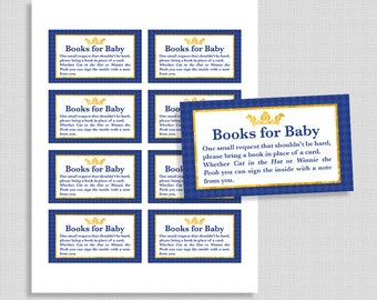 Baby Shower Books For Baby, Prince Royal Blue & Gold Invite Insert, Bring a Book in Place of a Card, DIY Printable, INSTANT DOWNLOAD