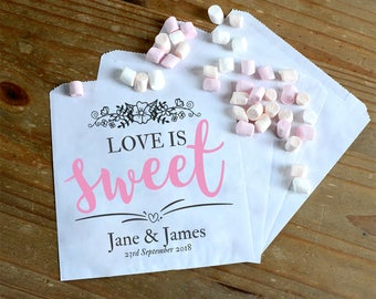 Personalised Wedding Sweet / Sweetie - candy cart favour bags sweet thank you - love is sweet