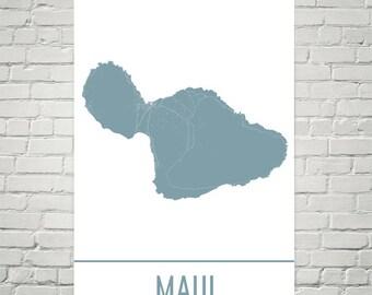 Maui Map, Maui Art, Maui HI Print, Maui Hawaii Poster, Maui Wall Art, Maui Gift, Map of Maui, Maui Poster, Maui Decor, Modern, Art Print