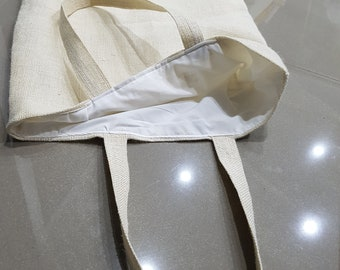 Lined Hessian Material Tote Bag