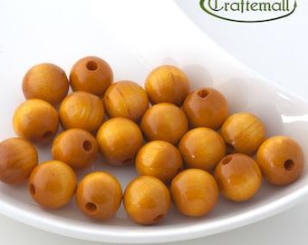 Wooden Beads - Round - Yellow 16mm - 10 Beads