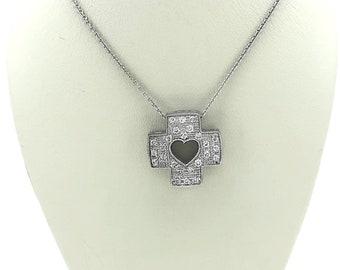 Estate .50ct. T.W. Diamond Cross Necklace White Gold - J36716