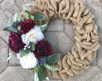 Spring Floral Wreath for Front Door, Burlap Wreath, Peony Wreath, Spring Wreath, Purple, Farmhouse Wreath, Mother's Day Wreath