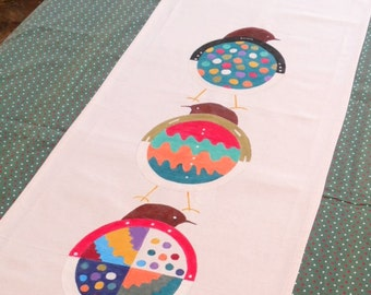 Bird table runner,  hand painted 78 inch table topper