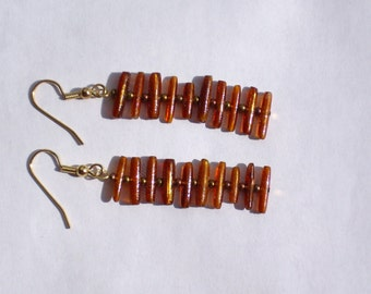 Gold Coral Ladder Earrings