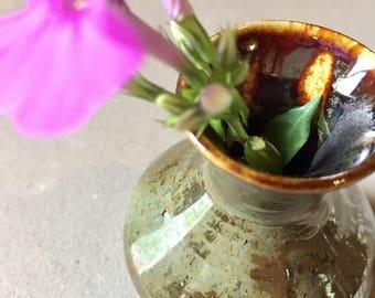 Miniature Handmade Vase - Metallic Green - Flower Vase - Decoration/Gift