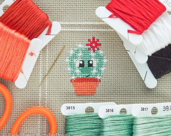 Astrid the Cactus Cross Stitch Pattern PDF | Prickly but Cute Stitch-a-Long | Easy | Modern | Beginners Counted Cross Stitch Pattern