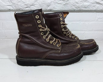 Texas steer lace up work boots vintage 1990s mens size 9 brown leather black