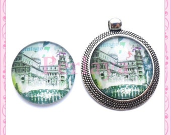Set of 4 Cabochons glass round 25mm Tower of Pisa REF1657X4