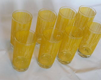 8 Vintage Georges Briard 16 Ounce Collins Glass 1960s Fabulous Icicle pattern