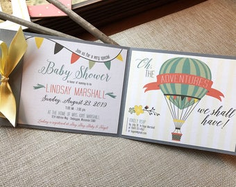 Hot Air Balloon Baby Shower Invitation, Adventure baby shower, Baby Shower Banner, Up Up and Away Baby Shower Invitation, banner baby shower