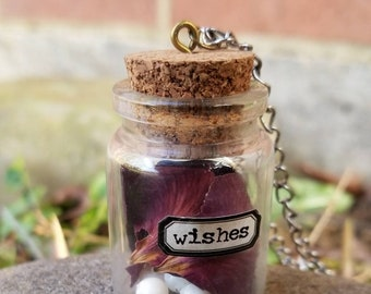 Large Dried Rose Petals and Pearls Vial Necklace