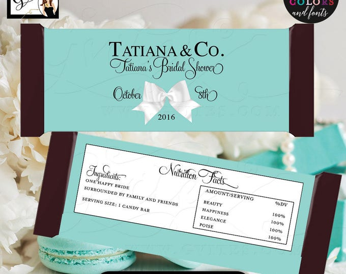 """Candy Bar Wrapper bridal shower wrappers, Breakfast at Bride and Co labels Customizable colors & text.  {2 Per/Sheet 5.25 x 5.75""""}"""