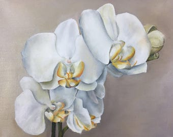 Oil Painting White Orchids 11x14 by JS