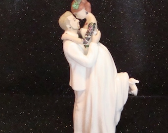 Tattooed Wedding Cake Topper Custom Painted and Personalized to Resemble You