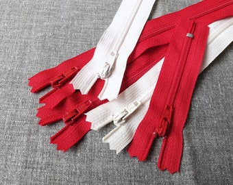 "SALE Sewing Support - Japanese YKK Nylon Zippers, Chic French White and Red Pack Set Z04(5PCS, 3"" 3.5"" 8"" 10"")"