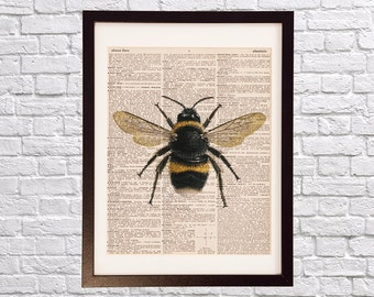 Vintage Bumble Bee Dictionary Print - Insect Art - Print on Dictionary Paper - Gardener Gift, Flowers - Anatomy, Beekeeper Art, Entomologist