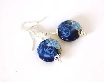 Winterflower Earrings, Navy Blue Rose Dangles, Deep Blue on Silver Ear Wires, Polymer Clay Jewelry, Handmade Bead Earrings