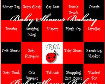 Ladybug Baby Shower Game, Ladybug Baby Shower Bingo, Baby Shower Bingo for Girl, Ladybug Theme Baby Shower Printable, Instant Download