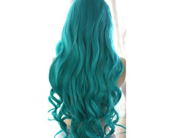 Super Long curly teal green wig. ready to ship.