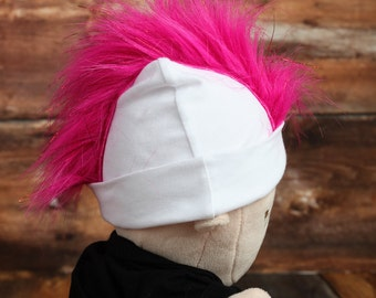 Bright Pink Mohawk Hat Personalized Punk Rocker Baby Beanie