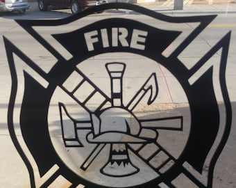 Fire Department Logo ABS Plastic Cutout Window Art with suction cup.