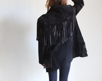 black leather fringe jacket | suede blazer | womens motorcyle jacket | moto jacket [ small - medium ]