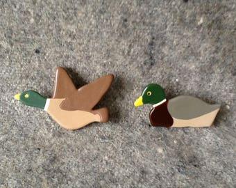 Handmade ceramic duck brooch