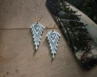 pale mint lace earrings  // SAZIA // tribal earrings, boho earrings,  statement earrings,  festival jewelry / hippie