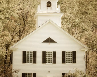 Vermont Photograph, New England Classic Church Building Architecture Spring New Hampshire Wall Art Home Decor ne1