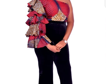 ESE TOP - Ankara Top, Ankara Blouse, Women Blouse, Ankara Fashion, African Fashion, African Blouse, Women Top, Women Clothing, Fleds, Tribal