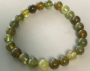 Grossular Green Garnet 8mm Round Stretch Bead Bracelet with Sterling Silver Accent
