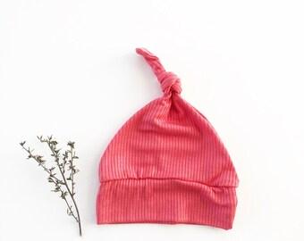 Beanie/Hat - Infant beanie in Bright Coral Rib Knit