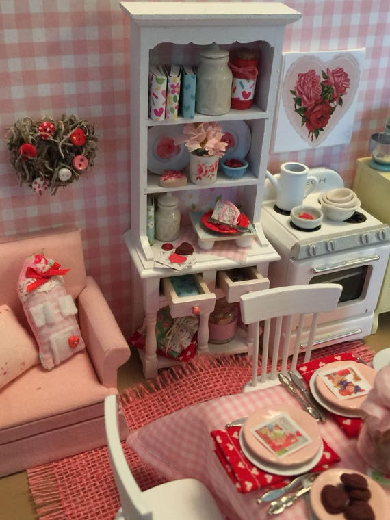 Miniature Shabby Valentine Styled China Hutch- Dollhouse Scale