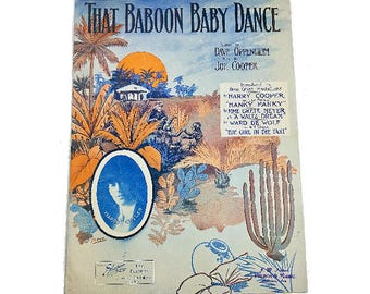 That Baboon Baby Dance 1911 Sheet Music Starner Cover Art Harry Cutler Oppenheim