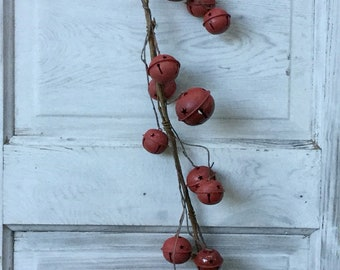 Red Jingle Bell Garland with Large and Small Bells